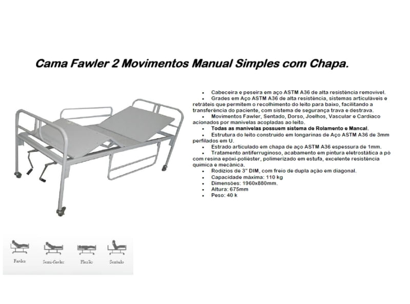 Cama Fawler 02 Movimentos Manual com Chapa - CM-010C