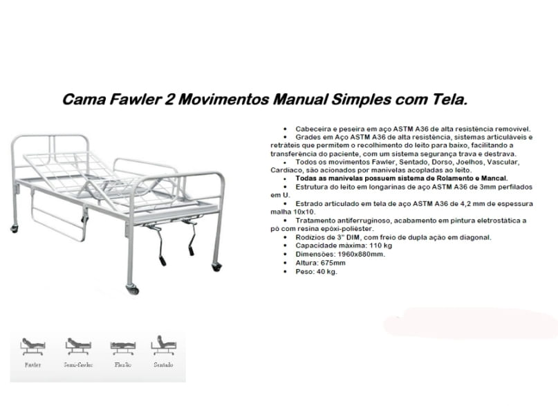 Cama Fawler 02 Movimentos Manual com Tela - CM-010T