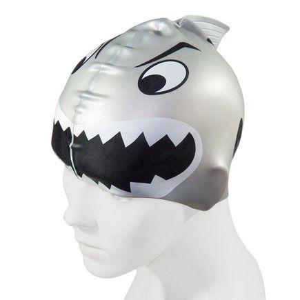 touca-para-natacao-em-silicone-kid-tubarao-prata