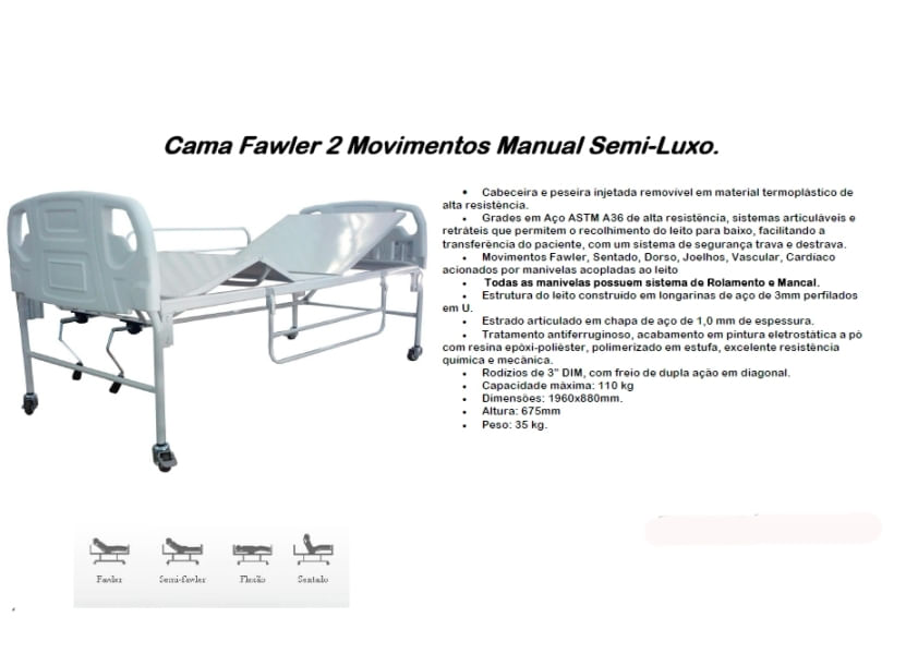 Cama Fawler 02 Movimentos Manual Semi-Luxo - CM-010SLX