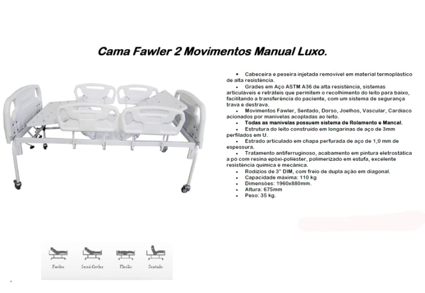 Cama Fawler 02 Movimentos Manual Luxo - CM-010LX